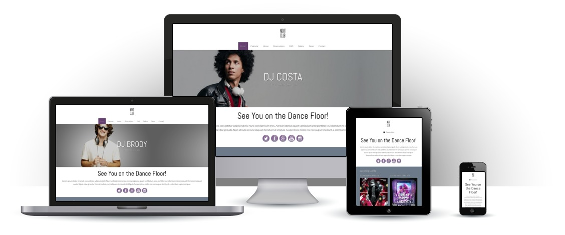 mobile responsive Nachtclub WordPress Thema