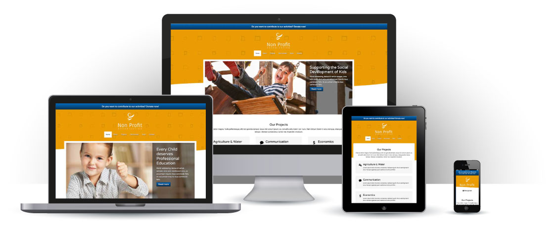 mobile responsive Non-profit WordPress Theme