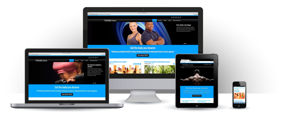 mobile responsive Personal Trainer WordPress Theme