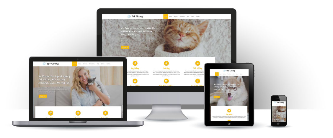 mobile responsive Pet Sitting WordPress Theme