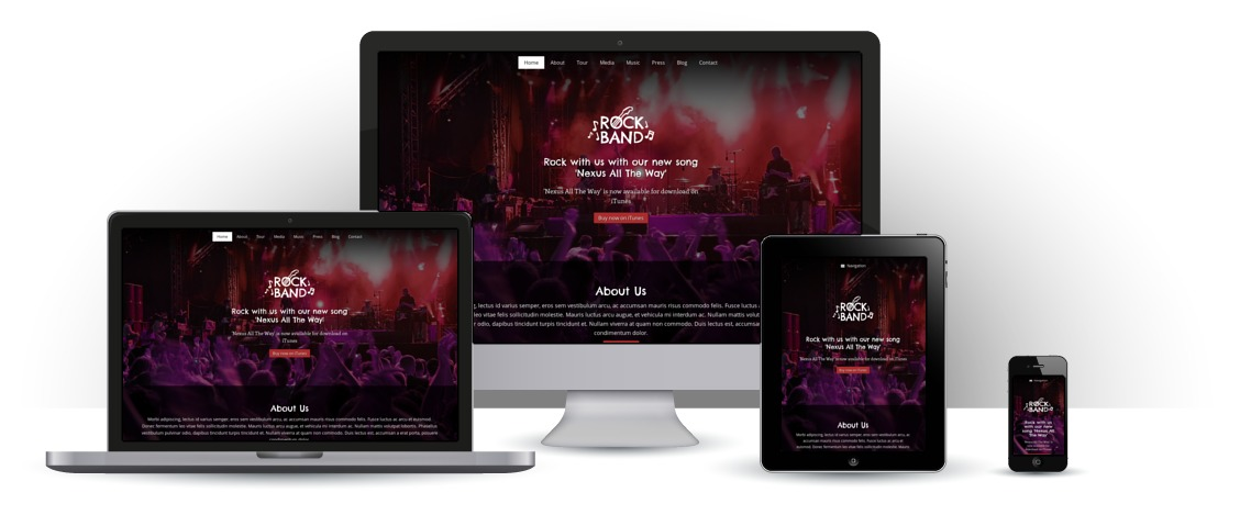 mobile responsive Rock Band WordPress Thema