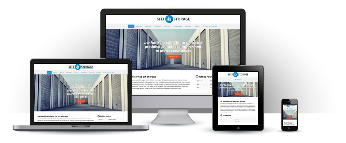 mobile responsive Self Storage WordPress Theme