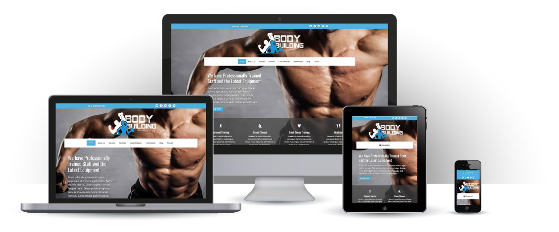 mobile responsive Bodybuilding WordPress Theme
