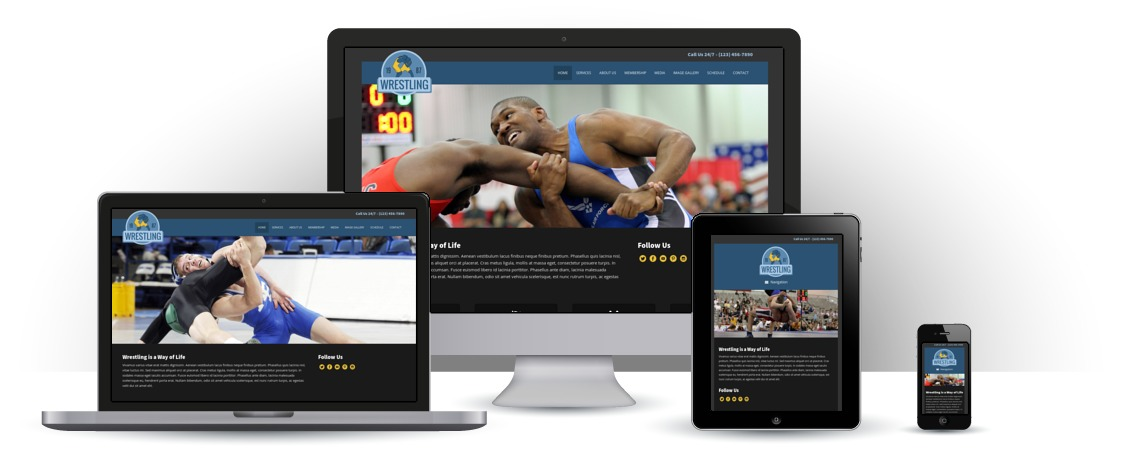 mobile responsive Wrestling WordPress Theme