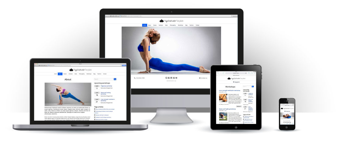 mobile responsive Yoga Instructor WordPress Theme