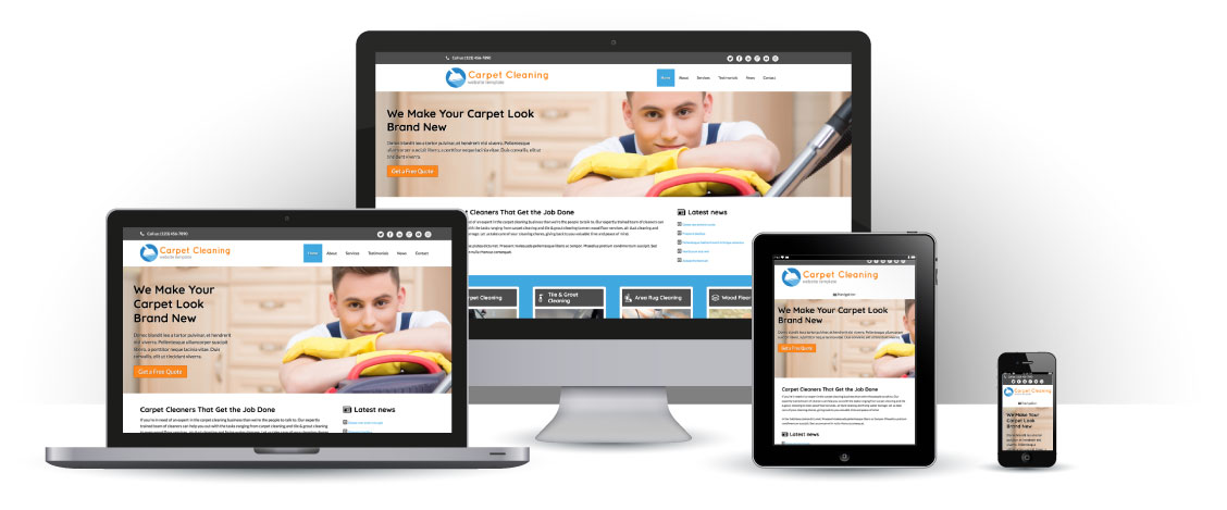 mobile responsive Tapijtreiniging WordPress Thema
