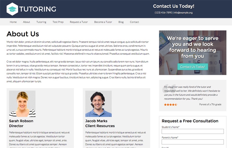 Tutoring wordpress theme premium wp theme introduce your team the tutoring wordpress theme includes an about us page pronofoot35fo Images