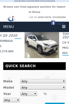 Mobile screenshot of www.carimports.co.ke