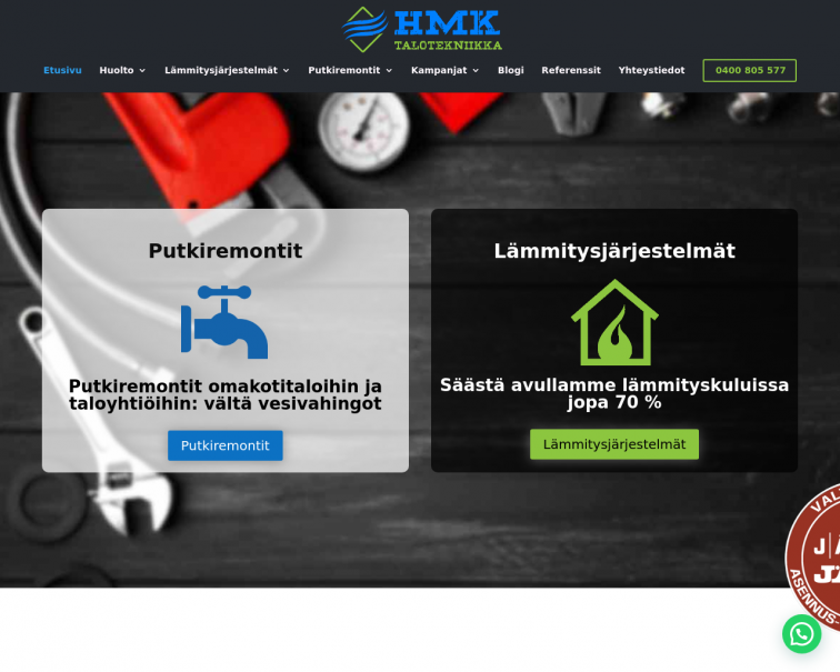 Screenshot of www.hmktalotekniikka.fi
