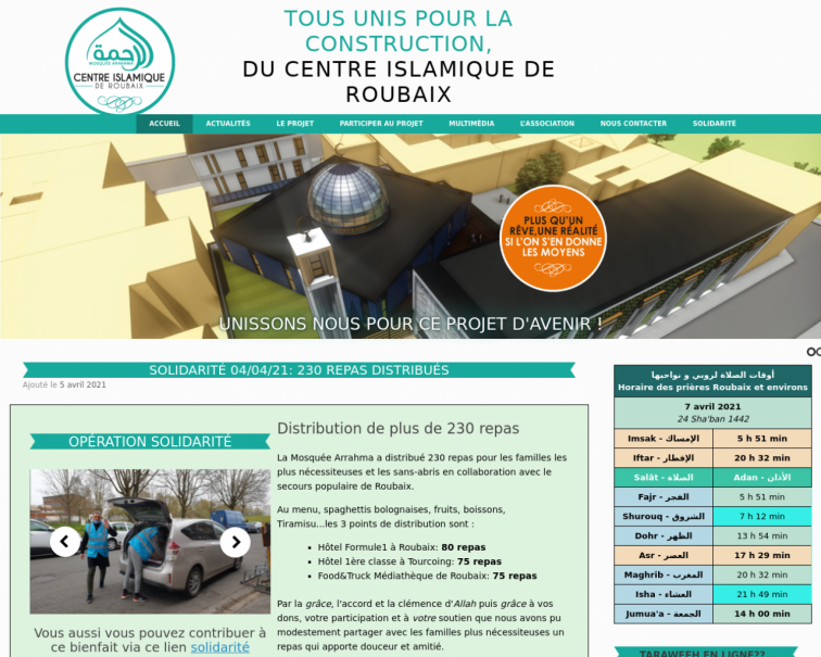 Screenshot of www.centreislamiquederoubaix.fr