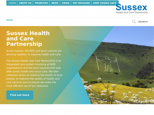Tablet screenshot of www.sussexhealthandcare.uk