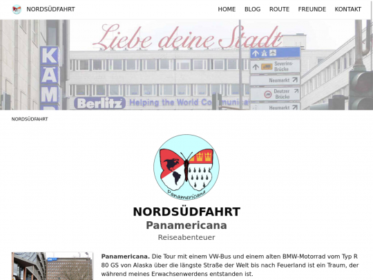 Tablet screenshot of www.nordsuedfahrt.de