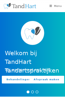 Mobile screenshot of www.tand-hart.nl