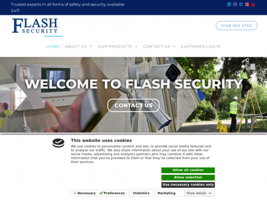 Tablet screenshot of flashsecurity.co.uk