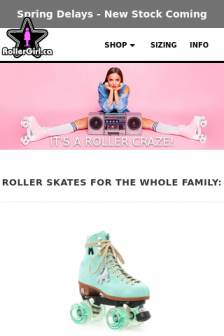 Mobile screenshot of www.rollergirl.ca
