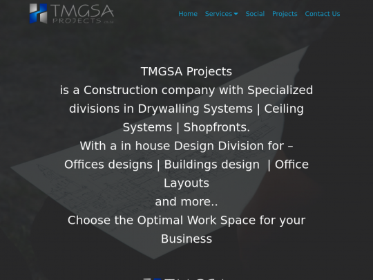 Tablet screenshot of www.tmgsa.co.za