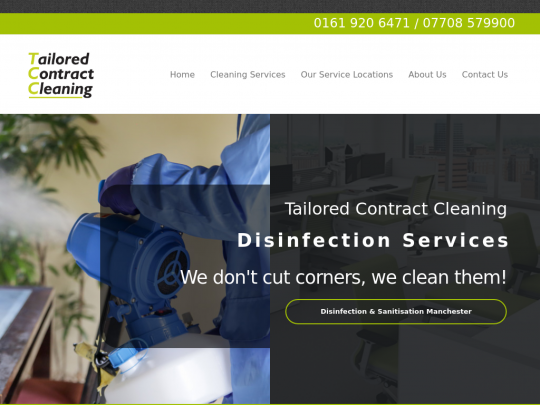 Tablet screenshot of www.tailoredcleaning.co.uk