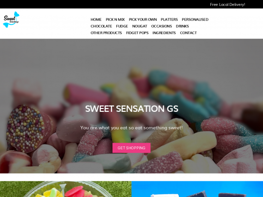 Tablet screenshot of sweetsensationgs.co.uk