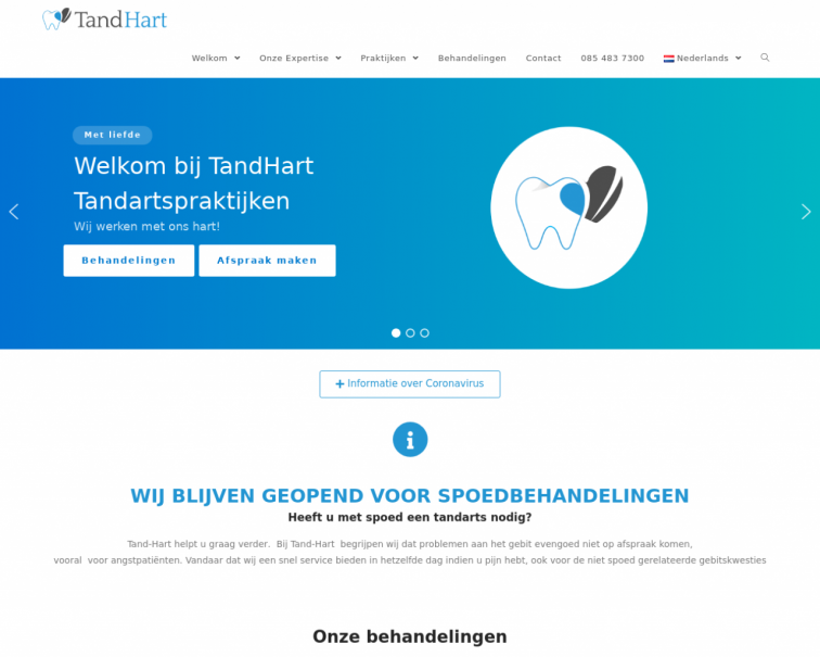 Screenshot of www.tand-hart.nl