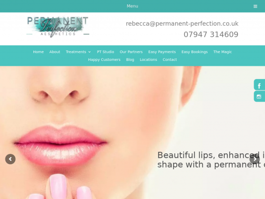 Tablet screenshot of www.permanent-perfection.co.uk