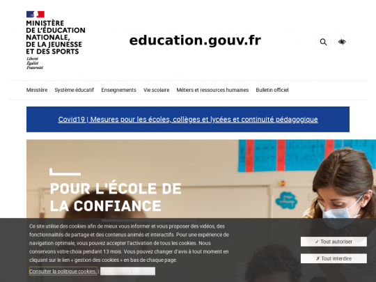 Tablet screenshot of www.education.gouv.fr