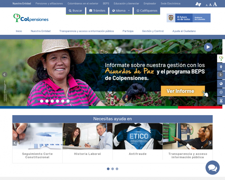 Screenshot of www.colpensiones.gov.co