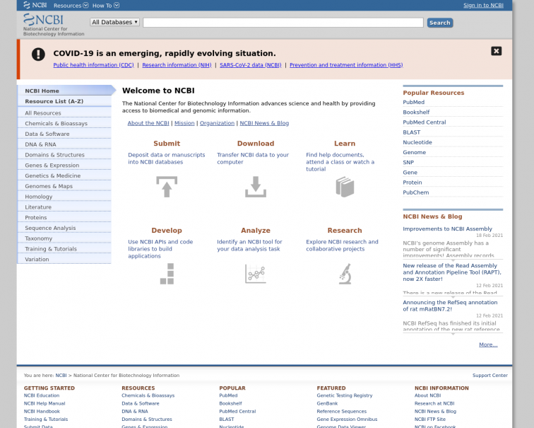 Screenshot of www.ncbi.nlm.nih.gov