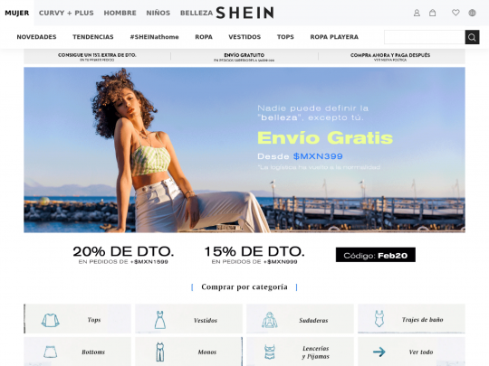 Tablet screenshot of www.shein.com.mx