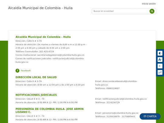 Tablet screenshot of www.colombia-huila.gov.co