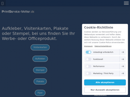 Tablet screenshot of www.printservice-vetter.de