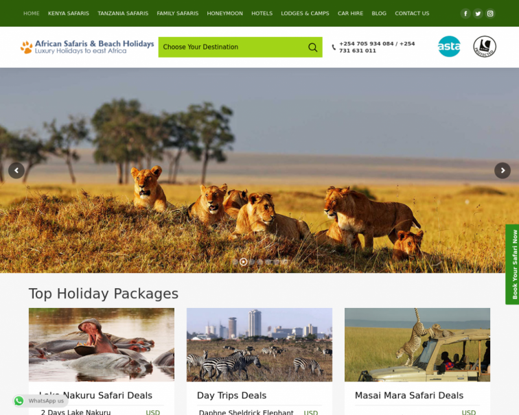 Screenshot of www.kenyasafari.co.uk
