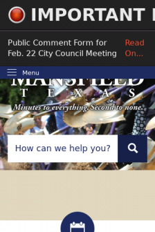 Mobile screenshot of www.mansfieldtexas.gov