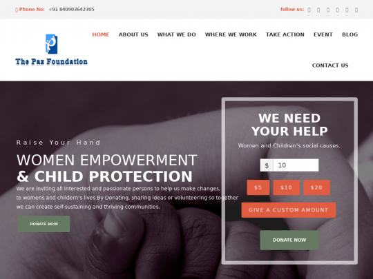 Tablet screenshot of www.thepazfoundation.org