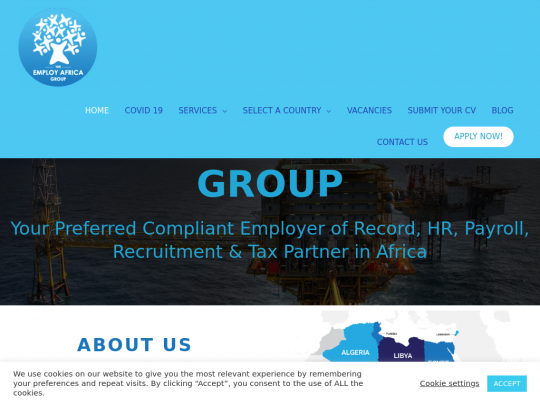 Tablet screenshot of www.employ-africa.co.za