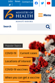 Mobile screenshot of www.health.govt.nz