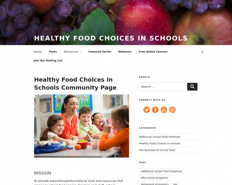 Screenshot of healthy-food-choices-in-schools.extension.org