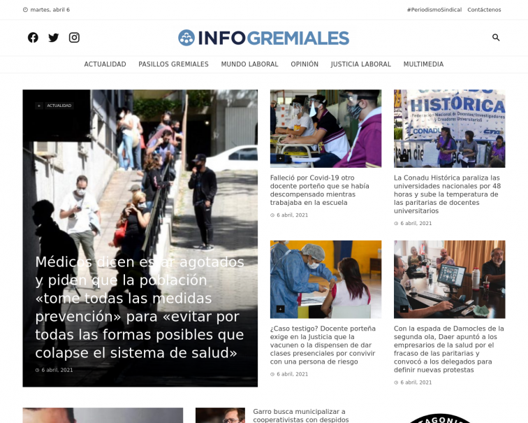 Screenshot of www.infogremiales.com.ar