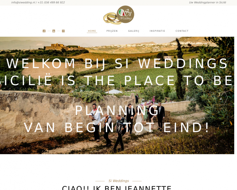 Screenshot of www.siweddings.nl