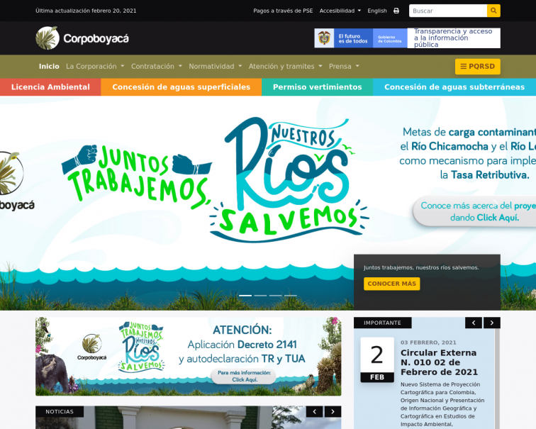 Screenshot of www.corpoboyaca.gov.co