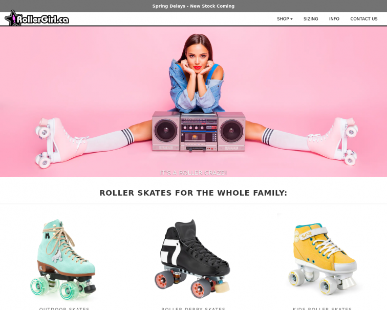 Screenshot of www.rollergirl.ca