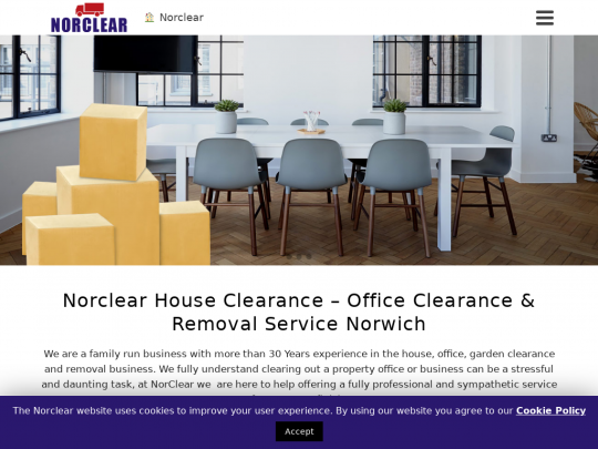 Tablet screenshot of norclear.co.uk