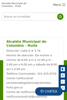 Mobile screenshot of www.colombia-huila.gov.co