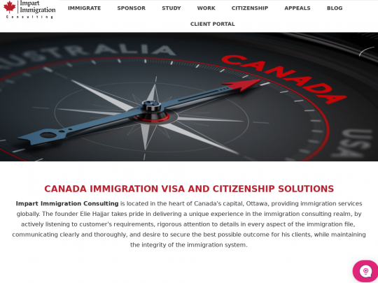 Tablet screenshot of www.impartimmigration.ca