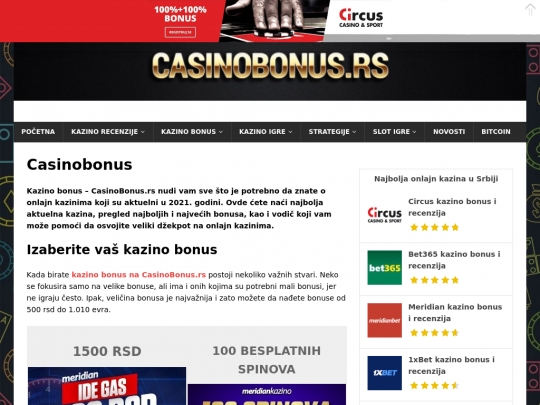 Tablet screenshot of casinobonus.rs