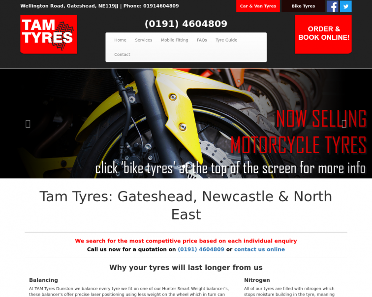 Screenshot of www.tamtyres.co.uk
