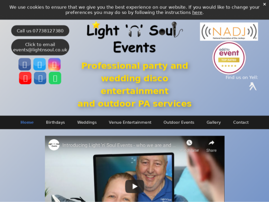 Tablet screenshot of www.lightnsoul.co.uk