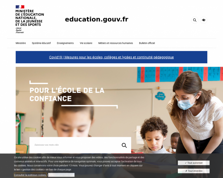Screenshot of www.education.gouv.fr