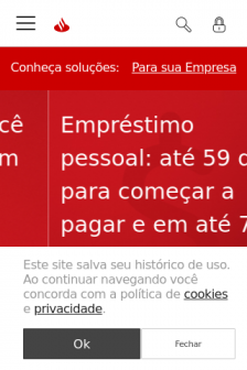 Mobile screenshot of www.santander.com.br