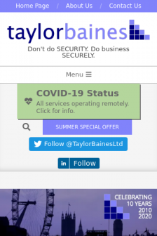 Mobile screenshot of taylorbaines.co.uk