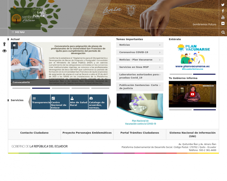 Screenshot of www.salud.gob.ec
